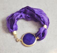 fashion jewelry unique bold large purple simple jade stone in golden frame bracelet elegant white silk gemstone bracelet ISRAEL jewelry