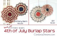 4th of July Burlap Stars {Pottery Barn Knock off}, perfect fourth of july craft and decoration. from www.TheCreativeMom.com