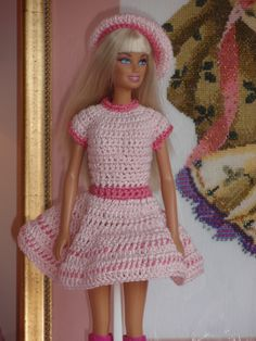 Barbie pink crochet dress