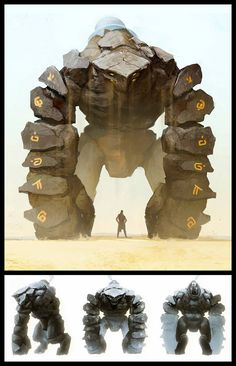 Leonid Enin Concept Art and Illustration rock stone earth golem elemental giant huge monster beast creature animal   Create your own roleplaying game material w/ RPG Bard: www.rpgbard.com   Writing inspiration for Dungeons and Dragons DND D&D Pathfinder PFRPG Warhammer 40k Star Wars Shadowrun Call of Cthulhu Lord of the Rings LoTR + d20 fantasy science fiction scifi horror design   Not Trusty Sword art: click artwork for source