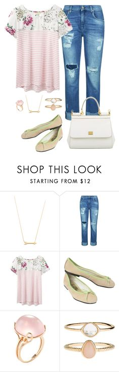 """""""Spring"""" by born2create on Polyvore featuring Jennifer Zeuner, 7 For All Mankind, Joules, French Sole FS/NY, Goshwara, Accessorize and Dolce&Gabbana"""