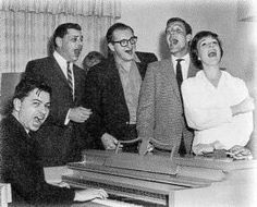 Songwriters Robert and Richard Sherman, music supervisor Irwin Kostal, and Poppins costars Van Dyke and Andrews gather around the piano Julie Andrews Mary Poppins, Mary Poppins 1964, Richard Sherman, Oscar Winners, Old Soul, Words To Describe, Old Hollywood, Disney, Van