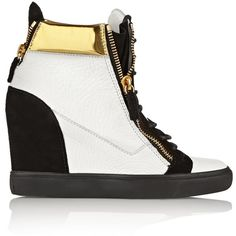 Giuseppe Zanotti Metallic leather and suede wedge sneakers ($479) ❤ liked on Polyvore featuring shoes, sneakers, giuseppe zanotti, white, zipper sneakers, suede shoes, leather sneakers, metallic wedge sneakers and white wedge sneakers