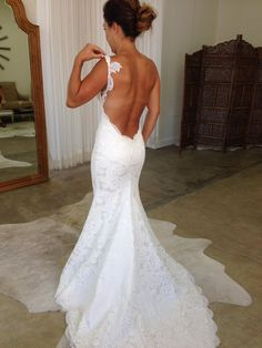 Lace Wedding Gown,Backless Prom Dress,Fashion Bridal Dress,Sexy Party Dress,Custom Made Evening Dress