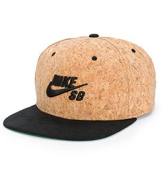 Add a unique new look to your hat collection with a black Nike SB Swoosh logo embroidered on the front of a cork crown and a contrasting black bill.