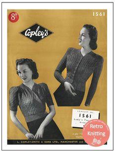 Jumper Knitting Pattern, Knitting Patterns, Crochet Patterns, Retro 2, 2 Ply, Vintage Knitting, Vintage Patterns, 1940s, Vintage Dresses