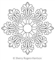 Snowflake Medallion Digital Quilting Design Celtic Snowflake Medallion by Sherry Rogers-Harrison.Digital Quilting Design Celtic Snowflake Medallion by Sherry Rogers-Harrison. Folk Embroidery, Embroidery Patterns, Indian Embroidery, Modern Embroidery, Flower Embroidery, Embroidery Stitches, Machine Embroidery, Mandala Coloring Pages, Longarm Quilting