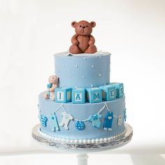 Blue Lace Cakes: Blue buttercream baby shower cake with fondant teddy bear, baby blocks, and clothesline. Torta Baby Shower, Tortas Baby Shower Niña, Comida Baby Shower, Baby Shower Cupcakes For Boy, Cupcakes For Boys, Baby Cakes, Cupcake Cakes, Teddy Bear Baby Shower, Baby Boy Shower