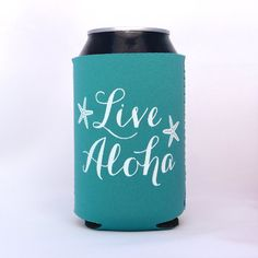 Live Aloha Starfish Hawaiian Neoprene Drink Cooler // TEAL //