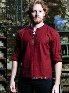 Professional Sale Viking Dress Clothes Mens Shirt Tunic Medieval Renaissance Cotton Tunic Short Sleeve Shirt Male Tops Camisa Masculina Robe Kurta Rapid Heat Dissipation Men's Clothing