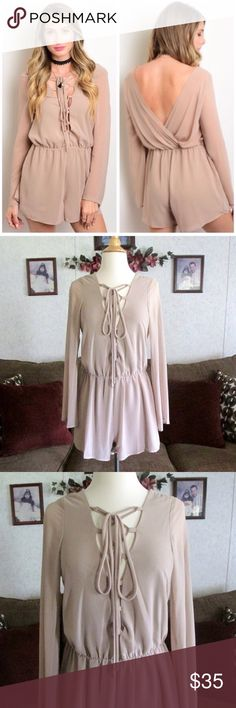1 Day Sale!Trendy Taupe Romper Brand new without tag. Size run small for women (get a size bigger), but true to size for juniors/teens. This taupe romper give a bohemian, trendy look. It can also be worn at any formal occasion with high heels or to the club.  I also do bundles, 15% off on 2 or more items from my closet! Just use the bundle feature. I will ship ASAP. Material: 100% Polyester (Made in the U.S.). Measurements are posted down below on the comment section. Please review the…