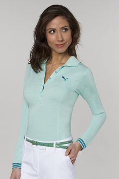 Pinks and Greens l Puma, Women's Apparel-Long Sleeve Sport Polo-4 Colors PU-561453