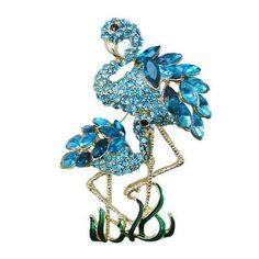 Blue flamingo swarovski pin