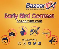 """Introducing Bazaar10X: The Growth Hacking Network.  A community for Entrepreneurs and 10X Thinkers. Join Bazaar10X and take part in our Early Bird Contest to get up to 20% discount on all our incredible deals- FOR LIFE. Register now!  Join the 10X Revolution  #tech #startup #entrepreneur #entrepreneurship #business #growthhacking #marketing #digitalmarketing #smallbusiness #software #freebie #socialmedia #venturecapital #geeks #genious #growthhack #founders #emprendedores #apps #linkedin…"