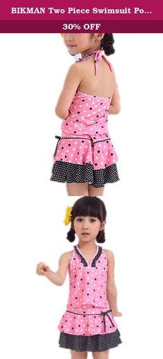 271aa49129 BIKMAN Two Piece Swimsuit Polka Dot Swim Dress Big Girls Halter Swimwear  pink). Size Chart 6 suitable for kids weight ; suitable for kids weight ...