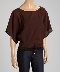 Look what I found on #zulily! Brown Cape-Sleeve Top by Indian Tropical Fashions #zulilyfinds