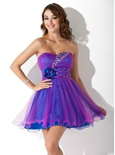 Empire Sweetheart Short/Mini Tulle Dress With Ruffle Beading Flower(s) - Front View
