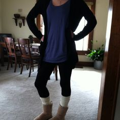 OOTD 2-8-12 -XL Sleep Tunic by Aerie -Long Slouchy Sweater by Simply Vera -Black Cotton Leggings -Cream Boot Socks by Sonoma -Classic Short Ugg Boots in Sand Enjoy!