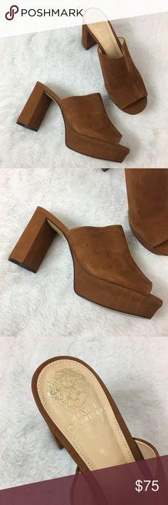 Vince Camuto Nubuck Mules Never worn! Beautiful Suede Nubuck Basilia Leather Heeled Mules. Brown Suede. Vince Camuto Shoes Mules & Clogs