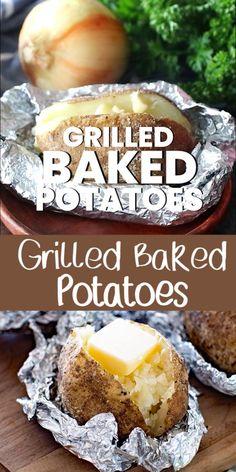 Grilled Baked Potatoes, Cooking Baked Potatoes, Baked Potato Recipes, Keto Crockpot Recipes, How To Cook Potatoes, Easy Chicken Recipes, Grilling Recipes, Baking Recipes, Baked Potato On Grill
