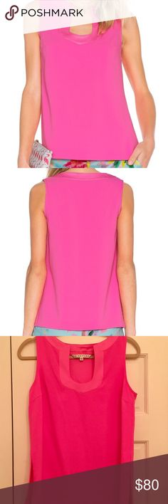 """NEW TRINA TURK CREPE SLEEVELESS TOP PINK S $178 NEW TRINA TURK """"KAYSON"""" CREPE SCOOP NECK SLEEVELESS TOP HOT PINK SZ SMALL $178 This simple silhouette features a standout U-neckline for an elevated look Size Small; New w/o Tags Color -""""Flamingo"""" (a gorgeous, vibrant hot pink) Lightweight polyester crepe Relaxed silhouette Sleeveless design Straight hemline with side splits 100% polyester Machine wash cold Made in U.S.A.  Measurements: ; Length: 24 in; Product measurements taken from size S…"""