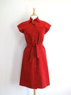 Belted Shirt Dress Vintage Red Ultrasuede by RedsThreadsVintage, $44.00