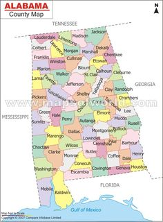 Map showing the territory of Alabama in 1819 Alabama Dept of
