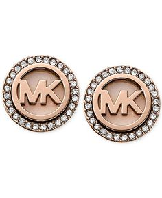 Michael Kors Rose Gold-Tone MK Logo Disc Earrings - Macy's Exclusive - All Fashion Jewelry - Jewelry & Watches - Macy's