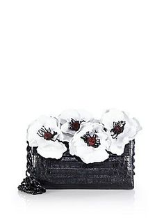 Nancy Gonzalez Floral Crocodile Chain Shoulder Bag - Black-White - Siz