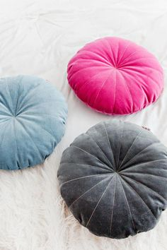 Round Velvet Pillows with gold thread - handmade