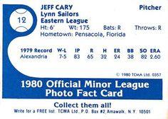 1980 TCMA Lynn Sailors #12 Jeff Cary Back