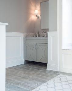 Grey panel bathroom floor with lines and light grey walls. Cory Connor Design - bathrooms - Benjamin Moore - San Antonio Gray - wood like tiles, wood tiles, tiles look like wood, bathroom wainscoting. Grey Wood Tile, Grey Wood Floors, Wood Tiles, Gray Tiles, Marble Wood, Wood Flooring, White Marble, Tile Looks Like Wood, Wood Tile Bathroom Floor