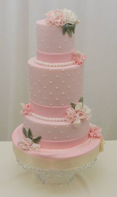 Vintage Cake in Pink with Fondant Fabric flowers by sugarpixy … http://cakesdecor.com/cakes/102659