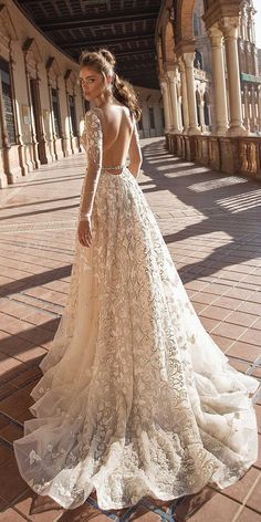 30 Breathtaking Low Back Wedding Dresses ❤  low back wedding dresses a line with long illusion sleeves lace floral berta ❤ See more: http://www.weddingforward.com/low-back-wedding-dresses/ #weddingforward #wedding #bride #bridalgown