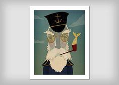 LIGHTHOUSE KEEPER Nautical Fisherman ILLUSTRATION Print signed
