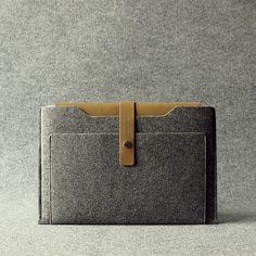 """The Granite"" Series  Macbook sleeve, made of genuine leather and recycled wool felt which is also anti-pilling & water-repellent.  #MacbookSleeve #MacbookProSleeve #MacbookAirSleeve"