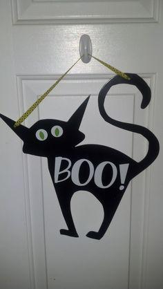 Halloween Cat Metal Or Wood Door Decor/Hanging