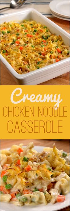 Chicken noodle soup is a magic food, and transforming the classic dish into a casserole only amplifies its comforting effects. This 30-minute chicken dinner has all the elements of traditional chicken soup: hearty egg noodles, tender chicken, peas 'n' carrots — but with a creamy sauce and crunchy topping that'll make you want seconds.