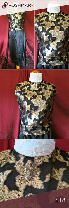 """Vintage Early '60s Metallic Gold Floral Shell Top Vintage Early '60s Gold Floral Pattern Shell Top Gorgeous sleeveless shirt with metallic floral design. Zips up back w/ a metal zipper. Brand: PS Boutique by Park-Storyk N.Y. No material or size tags. Fits like Small 5/6 Bust: 35"""" Waist: 31"""" Length: 20"""" Shoulder: 15"""" Condition: Good. 4 tiny lines through the metallic floral print on back. Not sure if these are runs (they don't appear to go thru fabric) or a natural result of the production…"""