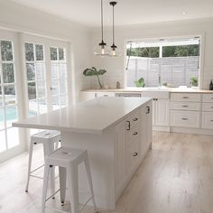 """""""[ Our Kitchen ] Oh how we love how light, bright and fresh it feels. You have the best view out to the pool I'll post the professional ones soon so you…"""""""