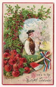 Bright red cherries make this card by R. Veenfliet especially colorful. The signature is easy to read, but the tiny trademark in the lower left corner proved impossible to make out, even with a magnifying glass. It was printed in Germany, as were most postcards of the 1910 era