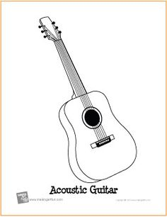 Acoustic Guitar | Free Printable Coloring Page