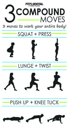 Save time and get results! These three compound movements target all the major m. - Save time and get results! These three compound movements target all the major muscle groups to strengthen, tone and burn calories! Muscle Fitness, You Fitness, Fitness Tips, Fitness Motivation, Enjoy Fitness, Fitness Plan, Physical Fitness, Fitness Goals, Cardio Training
