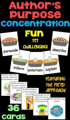 Author's Purpose Concentration Game featuring the PIE'ED approach! Students match each writing description to the correct author's purpose. Authors Purpose Activities, Reading Activities, Daily Activities, Educational Activities, Learning Resources, Reading Centers, Reading Skills, Reading Stations