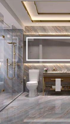Modern Luxury Bathroom, Bathroom Design Luxury, Modern Bathroom Design, Luxury Interior Design, Modern House Design, Interior Design Toilet, Washroom Design, Toilet Design, Home Room Design