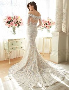 Sophia Tolli is a designer wedding dress line that features incredibly romantic wedding dresses from charming A-line silhouettes to classic high necklines. Sophia Tolli wedding dresses will make your wedding day feel even more magical. 2016 Wedding Dresses, Lace Mermaid Wedding Dress, Bridal Dresses, Wedding Gowns, Lace Dress, Bridesmaid Dresses, Wedding Ceremony, Dress Long, Bridesmaids