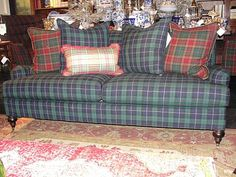Plaid couch from Nell Hill. (nice combination of plaids)