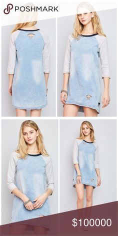 AVAILABLE Distressed acid wash tunic! 3qtr sleeve color block acid washed distressed tunic/dress- amazing Tops Tunics