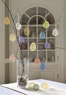 Easter Crafts | Make String Eggs  We love these with Party Dots inside