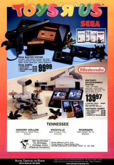 Nintendo NES, Sega Master System Toys R Us deals during the 1980s.